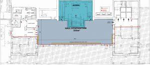 Photo du plan du premier niveau du palais des congrès de Grasse